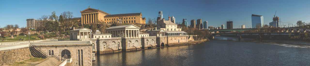 Panoramic view of philadelphia museum of art by schuylkill river