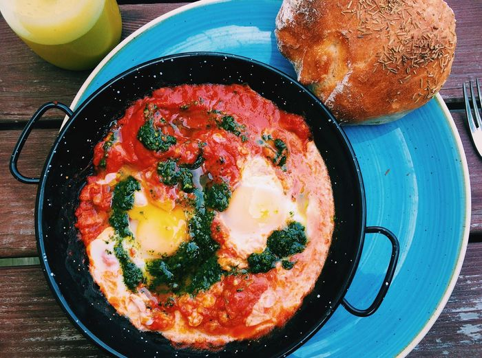Shakshouka Egg Food Food And Drink Egg Yolk Breakfast Fried Egg Healthy Eating Table Fried Indoors  Freshness No People Ready-to-eat Yellow Israel Close-up Sunny Side Up Skillet- Cooking Pan Day