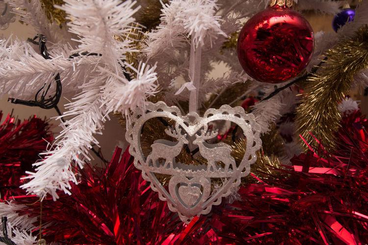 merry xmas Celebration Christmas Christmas Decorations Christmas Time Close-up Decoration Heart Very First Baubel