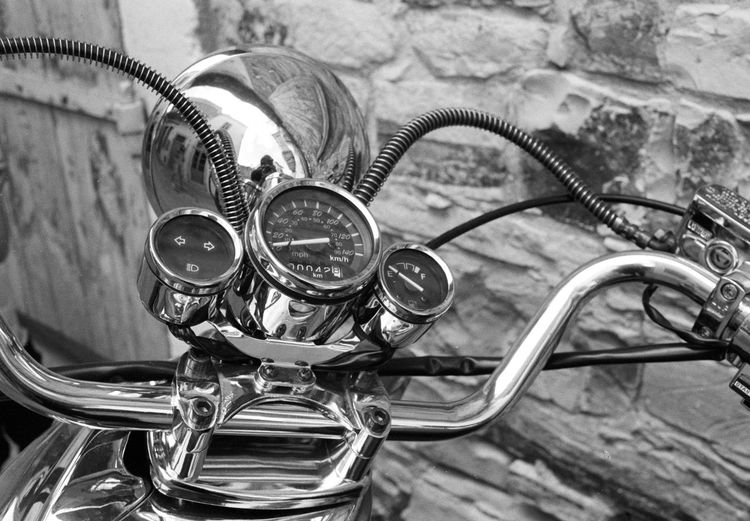 High angle view of motorcycle dashboard