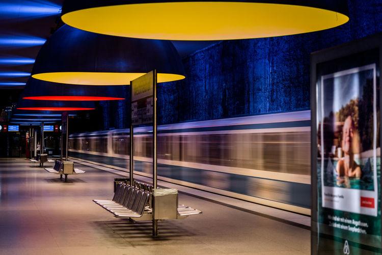 Architecture Metro Munich Westfriedhof Blurred Motion Design Germany Illuminated Indoors  Lamp Metro Station Motion Public Transportation Railway Railway Station Speed Subway Train - Vehicle Transportation