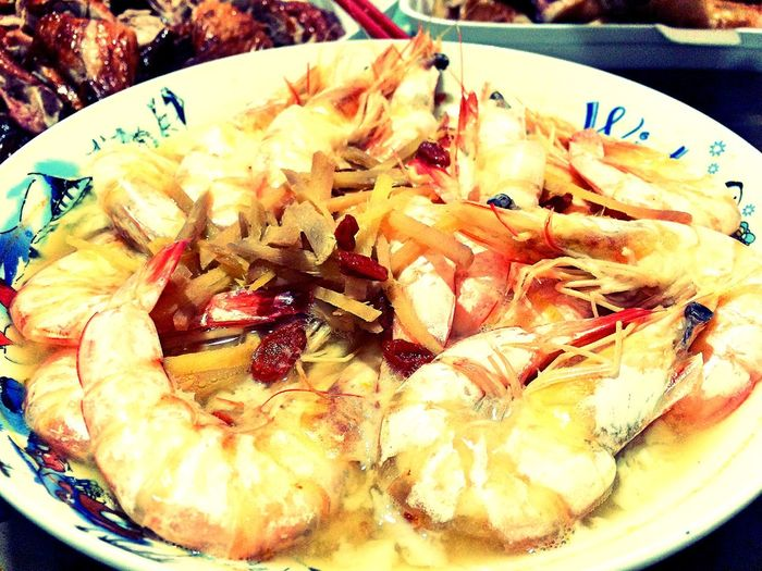 Steam Drunken Prawns on Reuniondinner for Chinese New Year Festive Season