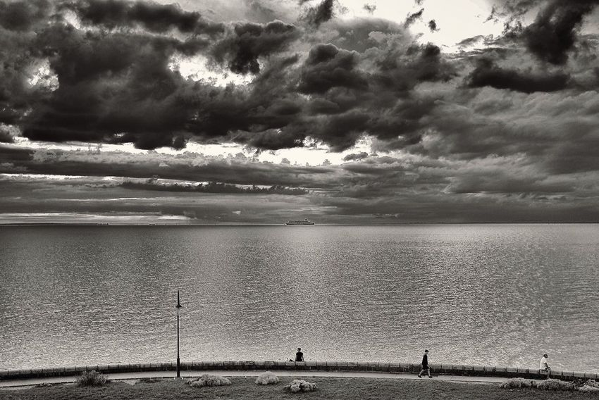 Melbourne Australia Black And White Leicacamera Ocean View Big Clouds Sunset