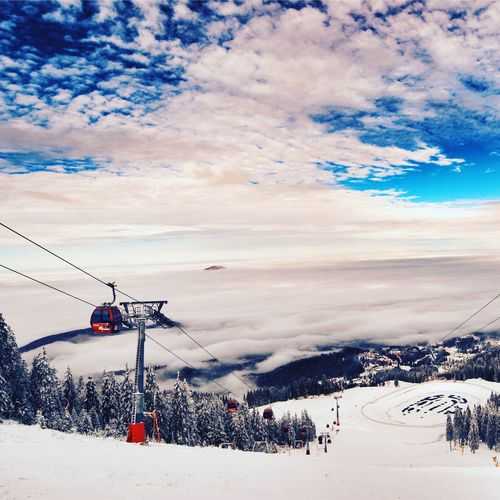 Winter Snow Cold Temperature Sky Weather Cloud - Sky Nature Beauty In Nature Scenics Outdoors Ski Lift Cable Tree Day Landscape Mountain Overhead Cable Car No People