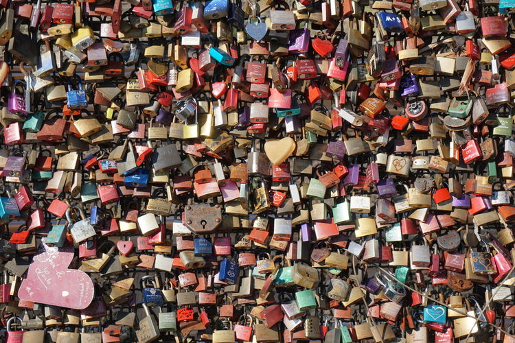Abundance Affectionate Backgrounds Cologne , Köln,  Culture Day Detail Extreme Close Up Full Frame Large Group Of Objects Lock Love Message Metal Multi Colored No People Outdoors Overhead View Padlock Protection Safety Symbol Trust Variation Wishing