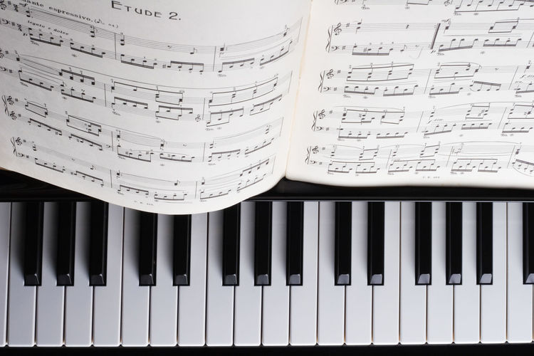 Sheet music on piano, shot from above. Piano Keyboard  Arts Culture And Entertainment Classical Music Indoors  Keyboard Music Musical Instrument No People Piano Piano Key Sheet Music Shot From Above