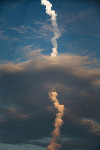 Low Angle View Of Vapor Trail At Cape Canaveral Against Sky