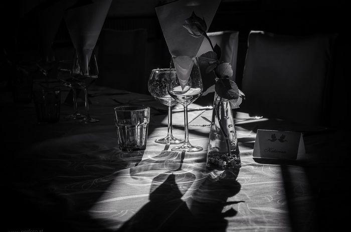 Wine not Indoors  Shadow No People Wineglass Blackandwhite Weddingtable