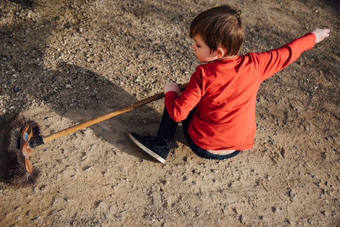 Boy Brush Brushing Child Childhood Children Only Day Full Length Ground Knight - Person Lifestyles Males  One Boy Only One Person Outdoors People Playing Sweeping Swing Sword Resist BYOPaper! Live For The Story