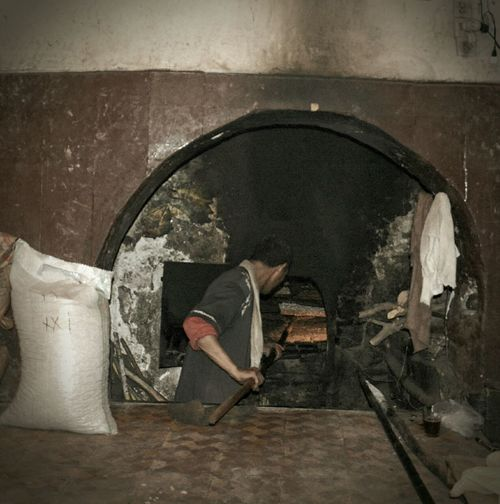 Man working at bakery