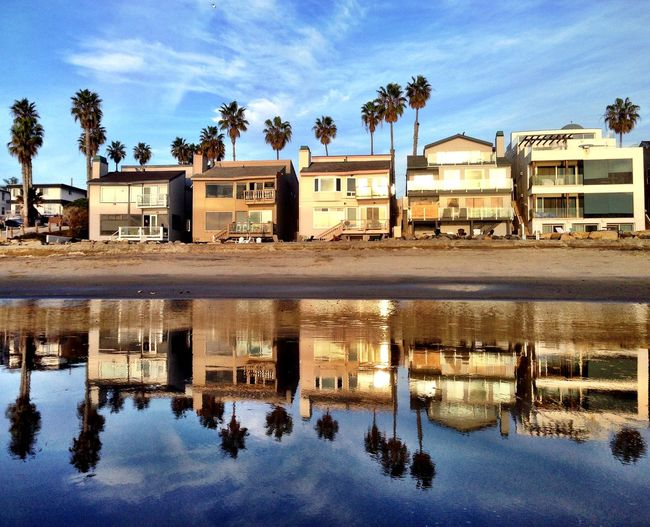 Reflection of condos in Oceanside, Ca. Sunshine Surfing Being A Beach Bum Sea