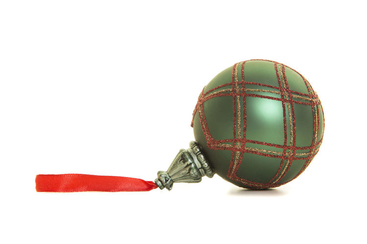 Green, red and golden glass christmas ball isolated on a white background Christmas Holidays Christmas Ball Christmas Decoration Christmas Ornament Item Object Studio Shot White Background