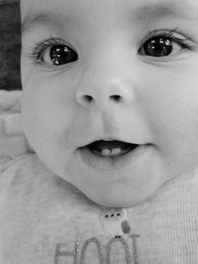 Innocence Close-up Baby People Childhood Babyhood Portrait Indoors  Day One Person Children Only Happy Tooth Teeth Teething Beautiful Black And White Eyes Beautiful Eyes The Portraitist - 2017 EyeEm Awards