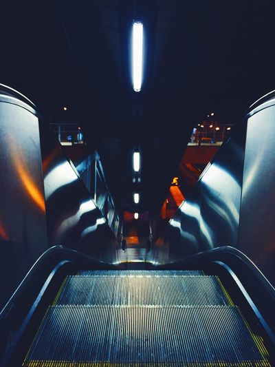 View of illuminated escalator