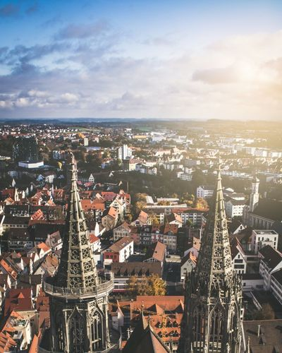 Ulm, BW, Germany Ulmer Münster Ulm Bawue Germany Deutschland Urban Downtown Downtown District Sunlight Lensflare Flare Cathedrale Church German Rooftop Rooftop View  Cityscape City Aerial View Urban Skyline Architecture High Angle View Sky No People Sunset Day