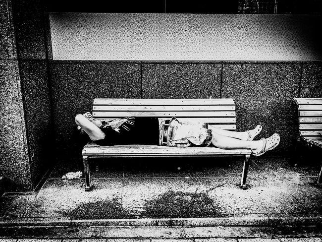 In the heat Monochrome Blackandwhite Streetphotography Street Portrait Street Sleep Life