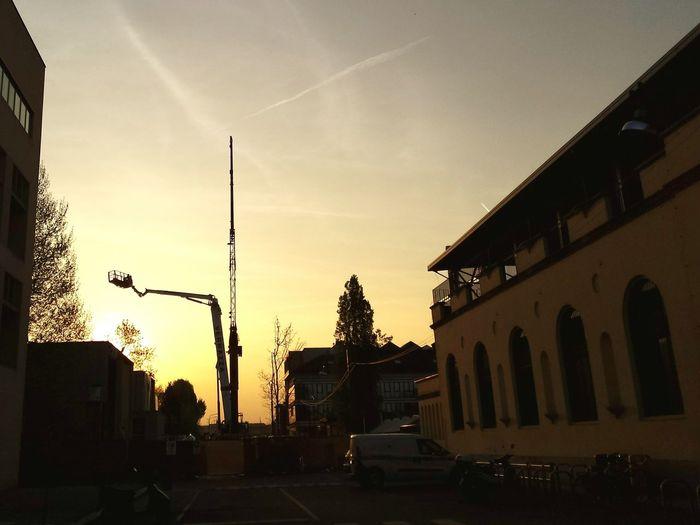 City street at sunset