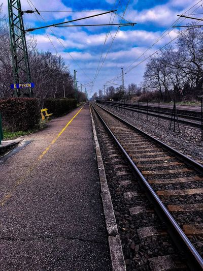 IPhone IPhone Photography IPhone 7 New Phone Exam On My Way To Uni Where Is The Train? Springtime Blue Yellow No People Old Railway Railway Station Rail Transportation Outdoors Waiting For A Train Day Tree Nature