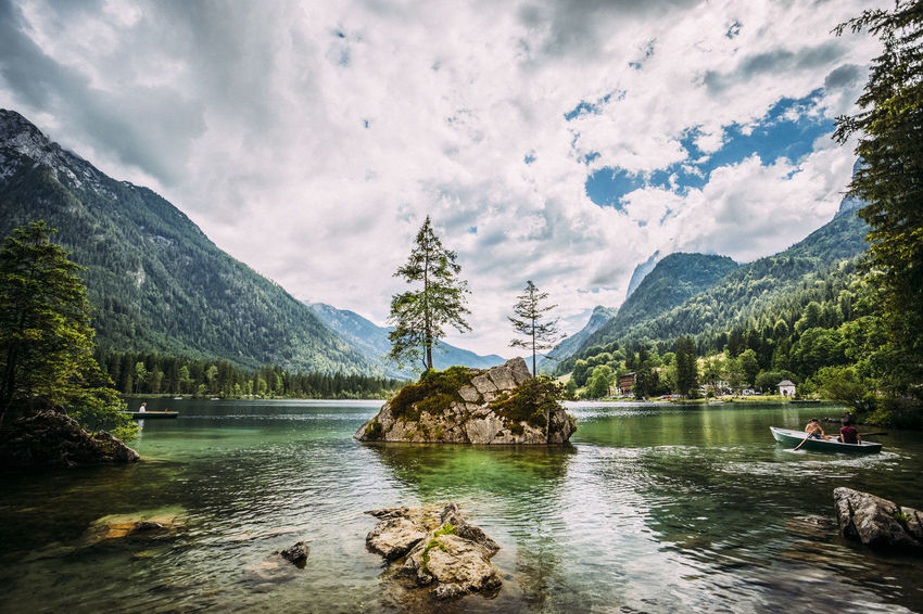 Illusive Tranquility Alps Bavaria Beauty In Nature Cloud - Sky Day Enjoying Life Germany Green Color Hiking Lake Landscape Landscape_Collection Mountain Mountain Range Nature Outdoors Rock Rowing Rowing Boat Scenics Sky Tranquil Scene Tranquility Tree Water First Eyeem Photo
