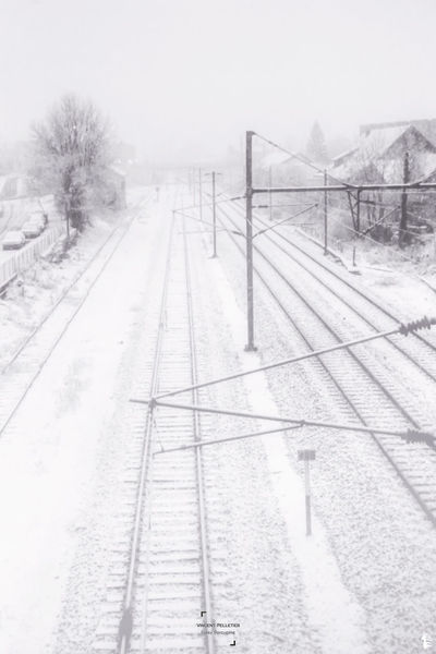 White and Black Winter Cold Temperature Snow Fog Transportation Snowing Beauty In Nature No People Frozen Photographer Grey Minimalism France Wintertime Railway Train