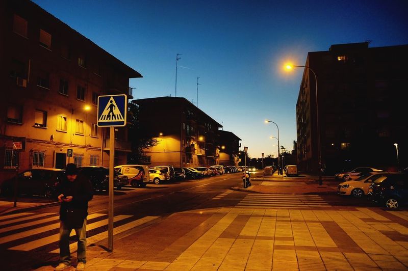 Madrid Spain Europe Street Light Sky City blue One Person Hello World Street Photography orange Nocturna Taking Photos