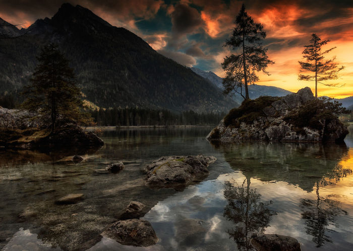 Ramsau, Germany Animal Themes Beauty In Nature Cloud - Sky Day Lake Mammal Mountain Mountain Range Nature No People Outdoors Scenics Sky Sunset Tranquil Scene Tranquility Tree Water
