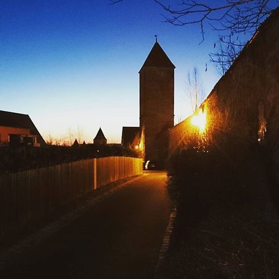 Morning view in Dinkelsbuhl . Tower Turm