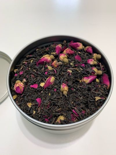 Rosebuds Black Tea Tea IPhoneography Tea Leaves Bowl Indoors  Still Life Freshness Pink Color Food And Drink Close-up Food High Angle View Directly Above No People Wellbeing Table Healthy Eating White Background