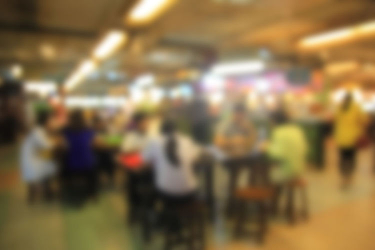 blurred image people in food center with light bokeh Blurred; Blur; Busy; Interior; Defocused; Decoration; Chair; Mall; Cafe; Table; Leisure; Kitchen; White; Retail; Canteen; Coffee; Business; Restaurant; Light; Sit; People; Dinner; Court; Lifestyle; Focus; Desk; Center; Blurry; Crowd; Dining; Vintage; Back Illuminated Indoors  Real People