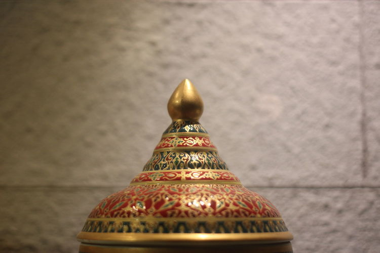 Valuable Detail Antiquities In Thailand Antiquities Container Thai Thailand Lid Indoors  Close-up Pattern No People Religion Gold Colored Still Life Art And Craft