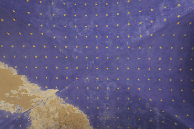 Yellow stars on the ceiling. Adapted To The City Backgrounds Blue Blue And Yellow Christmas Close-up Day Decorations From A Tourist Perspective Holiday - Event Indoors  No People Old Ceiling Old Ceiling Pattern Sky Yellow Stars Yellow Stars On The Ceiling