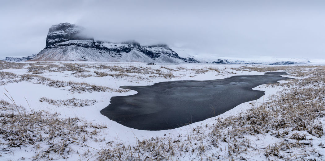 Winter in Iceland Vík í Mýrdal Travel Travel Destinations Tourism Iceland Landscape Nature Mountain Mountain Range Winter Wintertime Panorama Panoramic No People Tranquility Tranquil Scene Rural Scene Countryside