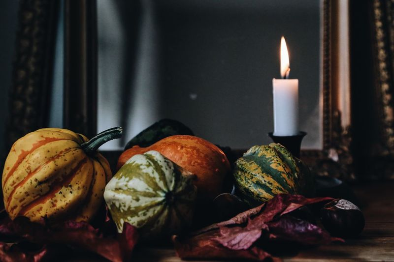 Candle Burning No People Flame Indoors  Close-up Day Autumn Colors Season  Fall Leaves Halloween_Collection Thanksgiving Full Frame Full Length Fall Beauty Pumpkins Still Life Still Life Photography Autumn Thanksgiving Day Plant Season Greetings Autumn Leaves Autumn Collection Fall Colors