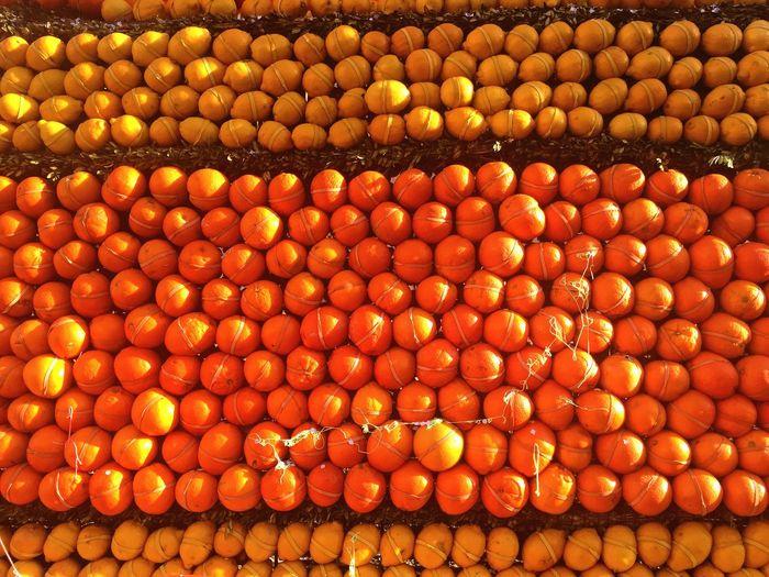 Stack of oranges and lemons tied during fete du citron festival
