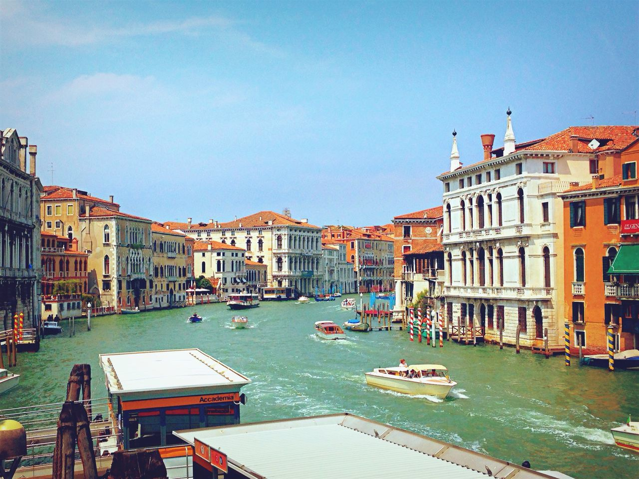 High Angle View Of Boats Sailing On Grand Canal In City