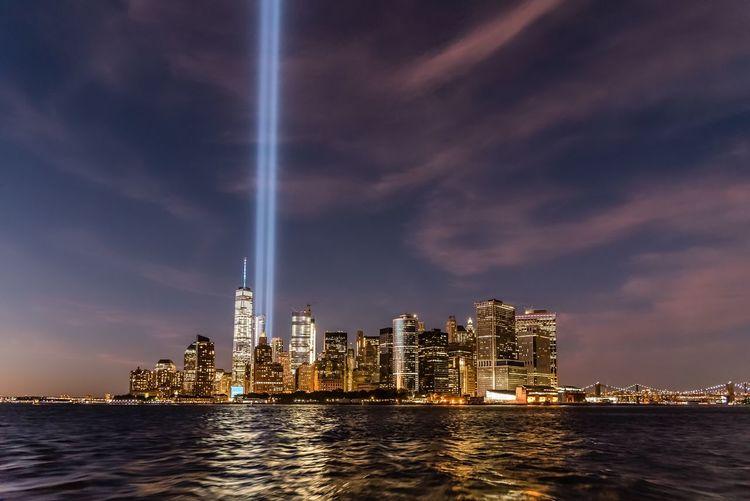 New york city lit up at dusk