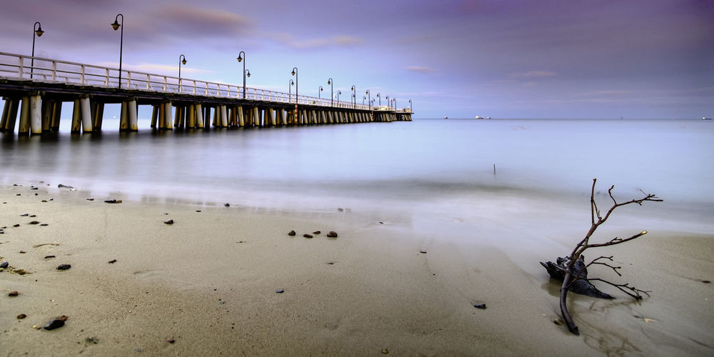 Just another pier exposure in Orłowo. Baltic Sea Beach Beauty In Nature Branch Day Horizon Over Water Landscape Long Long Exposure Nature No People Outdoors Panorama Pastel Pier Reflections Sand Scenics Sea Sky Stones Tranquil Scene Tranquility Twilight Water