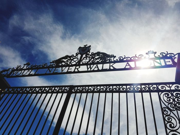 Metal Gates Liverpool, England Liverpool Fc Cloud - Sky Summery Days Untouched Outdoors You'll Never Walk Alone YNWA