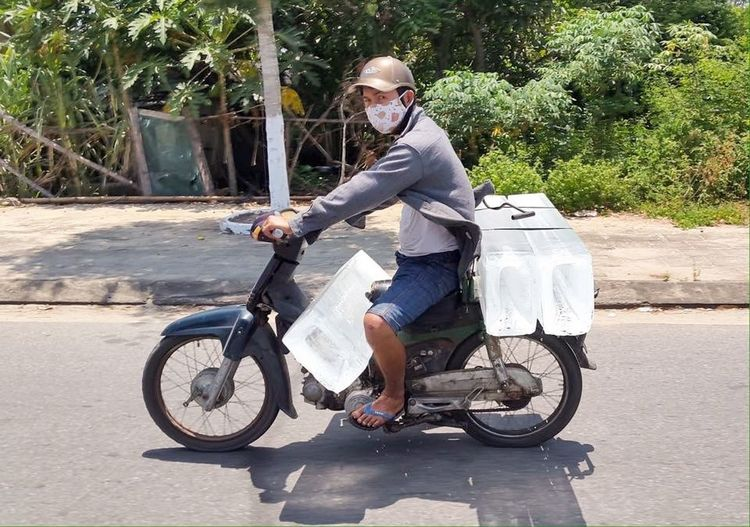 Delivery Man The Courier Only In Vietnam Street Photography Ice Ice Man Ice Delivery Delivering Ice Airconditioned Moto Making A Living Hoi An, Vietnam