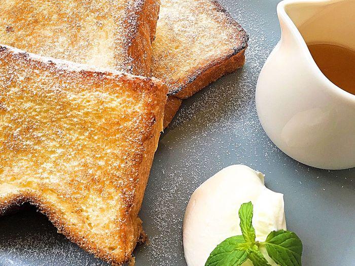 フレンチトースト Bread Table Food And Drink Ready-to-eat Healthy Eating Cultures French Food French Cafe Coffee Time Breakfast Morning Coffee IPhoneography