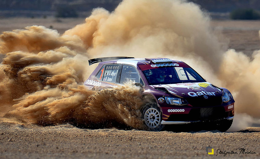 Dhakkar rally champion and Qatar ace rally driver Nasser Bin Saleh Al Attiyah achieved worthily the title of Qatar International Rally -version 34, with this title Al Attiyah achieved his 13th victory in his motor sport career and the 4th subsequent in Qatar International Rally – the first round of Middle East championship 2016 with his Skoda R5 beside his co-driver Matthieu Baumel, with this victory, Al Attiyah breaks the record of Mohamed bin Suleim 60 winnings. Photograph / Shahjahan Moidin Ace Rally Champion Car Desert Rally Nasar Al Athiyah On The Move Qatar National Rally 2016 Rally Rally Car Speed Vehicle