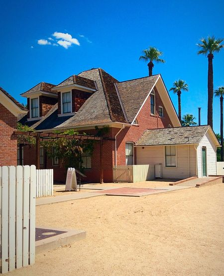 Built Structure Architecture Building Exterior House Sky Residential Structure Blue Day Outdoors Cloud - Sky No People Shingles Brick Wood - Material Sahuaro Ranch Glendale, AZ Arizona Ranch Life Refurbished Refurbishment Event Venue Venue Enjoying Life Taking Photos Clear Sky
