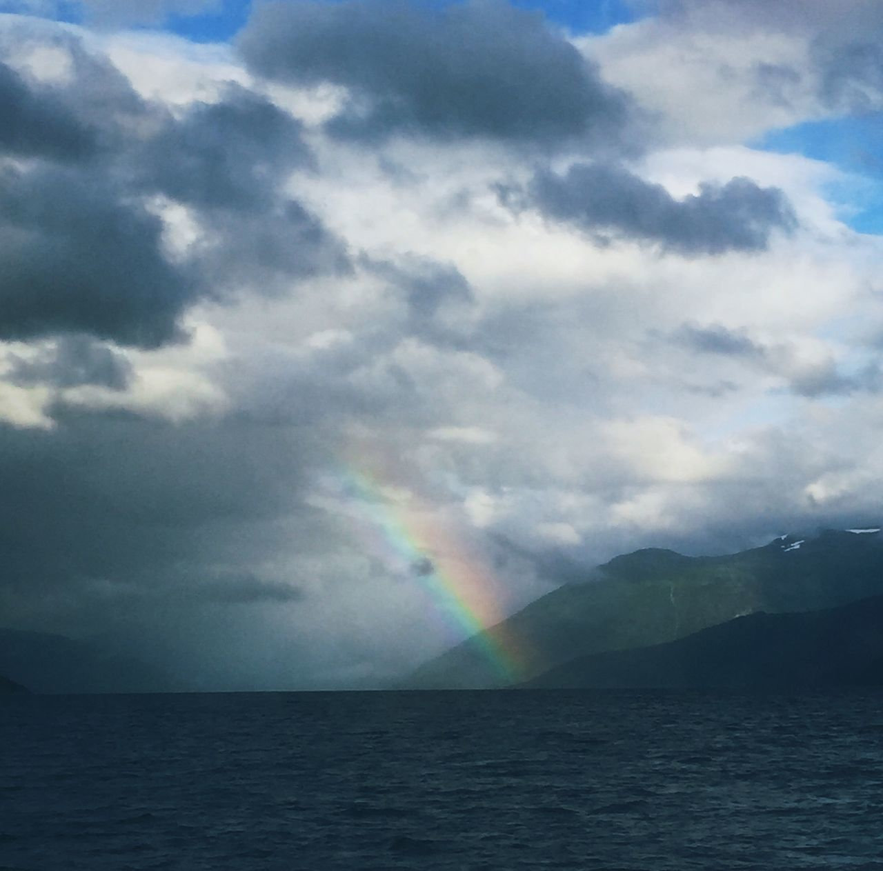 rainbow, scenics, sky, cloud - sky, beauty in nature, double rainbow, nature, water, weather, no people, tranquil scene, sea, outdoors, tranquility, multi colored, day, horizon over water, spectrum