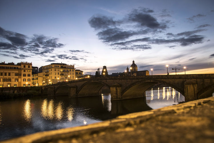 Bridge City River Sunset Florence Florence Italy Reflections Building