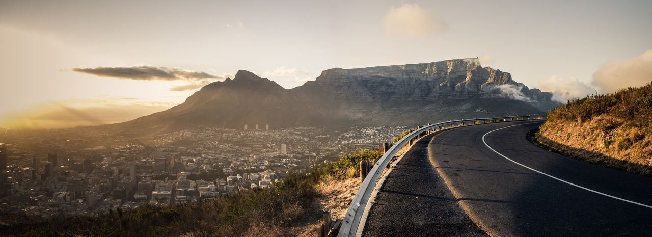 Table Mountain Table Mountain Cape Town Sunrise Sky Road The Way Forward Mountain Direction Nature Beauty In Nature Landscape First Eyeem Photo Curve Sunlight Panoramic Scenics - Nature City