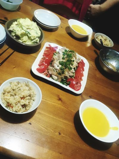 Table Food And Drink Food Plate High Angle View Indoors  Bowl Ready-to-eat Healthy Eating Freshness Serving Size No People Drink Meal Day Omelet Close-up 作ってみたん(╹◡╹) 棒棒鶏