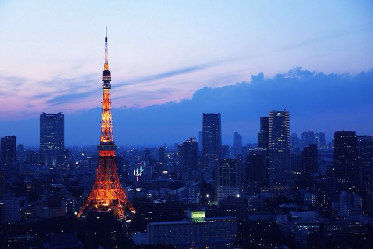 View of tokyo tower at night