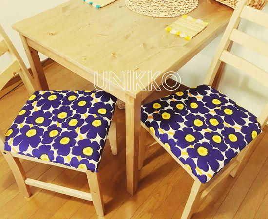 Myhome Dining Dining Table Marimekko 🏵💞 Unikko Material DIY Flower Chairs Kitchen Furnitures
