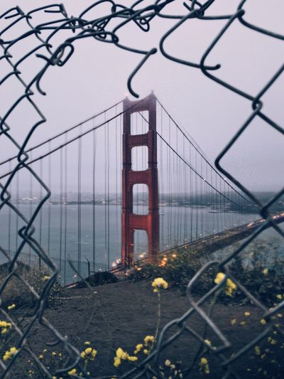 Architecture Bridge Bridge - Man Made Structure Building Exterior Built Structure Chainlink Fence City Connection Day Fog Nature No People Outdoors Sky Suspension Bridge Travel Destinations Water