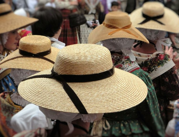 Back Back View Close-up Feast Festival Hat Hats Large Group Of Objects Looking To The Other Side Provence Rear View Saint Tropez Selective Focus Village Life Women Yellow Hats Raffia Hats Hat My Best Travel Photo